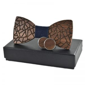 fc5d7526018d HomeFashionMens Business Wooden Bow Tie Neckties Cuff Links for Wedding  Groom